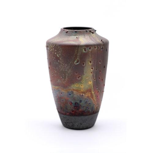 Elegant Handmade Raku Fired Ceramic Vase