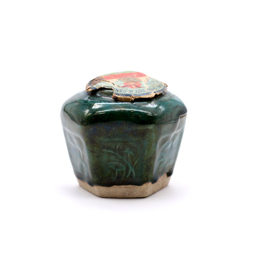 Vintage Chinese Six-Sided Ceramic Jar with Label.