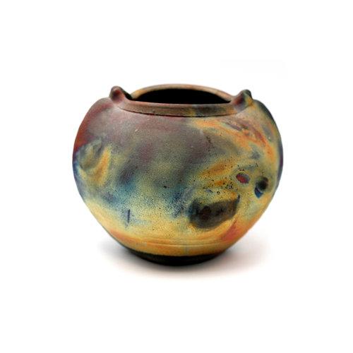 * Handmade Ceramic Raku Pot Michael Weinberg