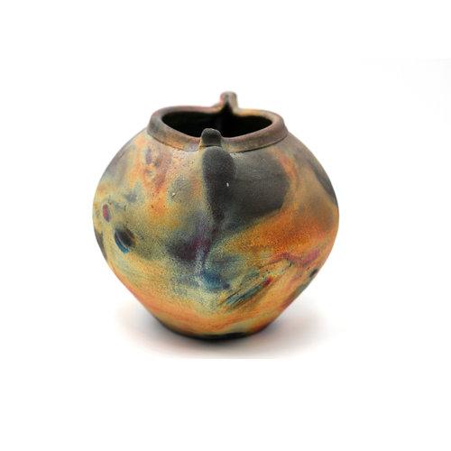 Handmade Ceramic Raku Pot by Artist Michael Weinberg