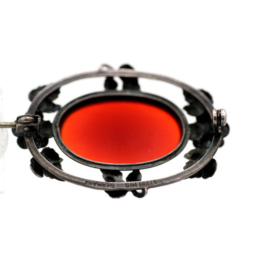 * Antique German Carnelian Brooch in Sterling Silver