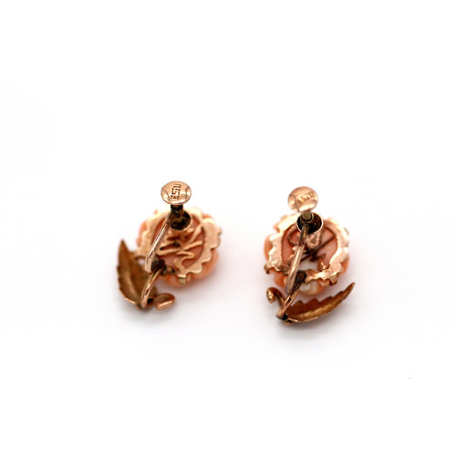 Stunning Carved Angel Coral Screwback Earrings in 14k