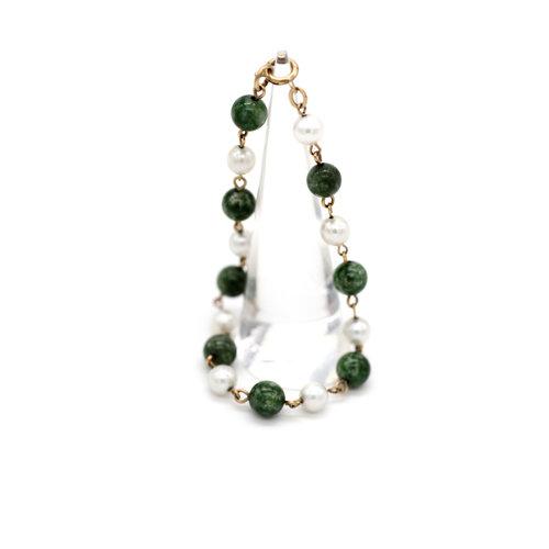 Vintage Mid Century Green Jade and Pearl Beaded Bracelet