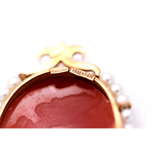 Romantic 14k Gold Vintage Cameo Brooch with Pearls