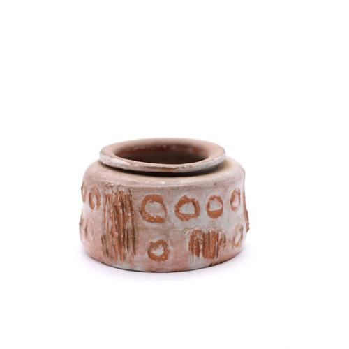 * Handmade Modernist Ceramic Vase with Geometric Carving