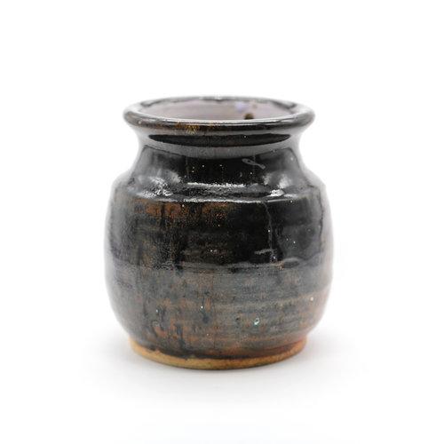 Brown Studio  Pot w/ Floral Design
