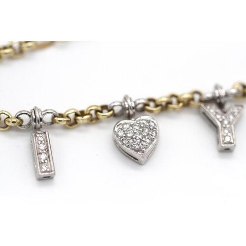 Romantic Vintage Diamond I Love You Bracelet in 14k Gold