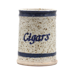 """Treasures of Ojai Ceramic Speckled """"Cigars"""" Canister"""
