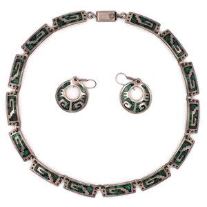 Treasures of Ojai Mexican Silver & Malachite 3pc Set