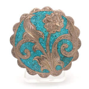 Mexican Silver Turquoise Brooch