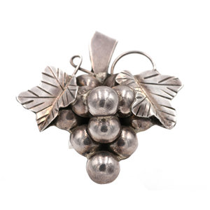 Mexican Silver Grape Brooch