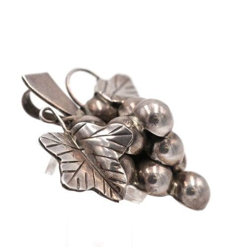 Mexican Silver Grape Brooch