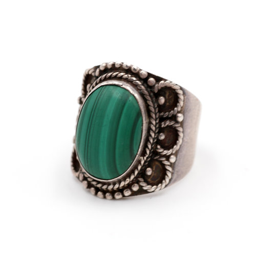 * Sterling Malachite Ring