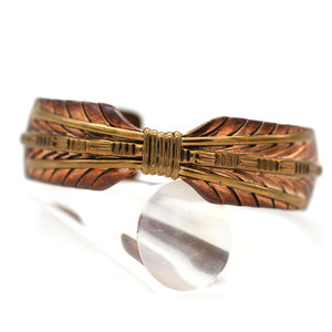 Contemporary Native American Feather Cuff in Copper