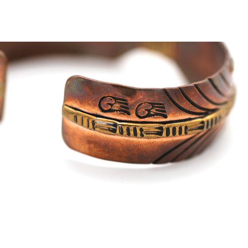 Contemporary Native American Feather Cuff in Copper