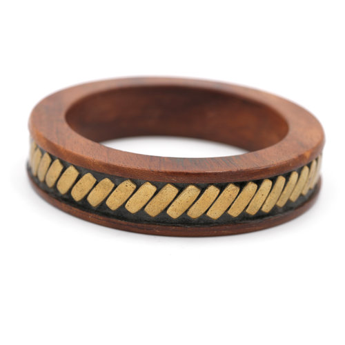 Wood Brass Bangle