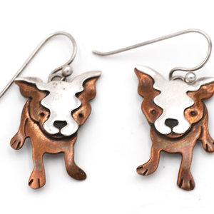 Copper Dog Earrings