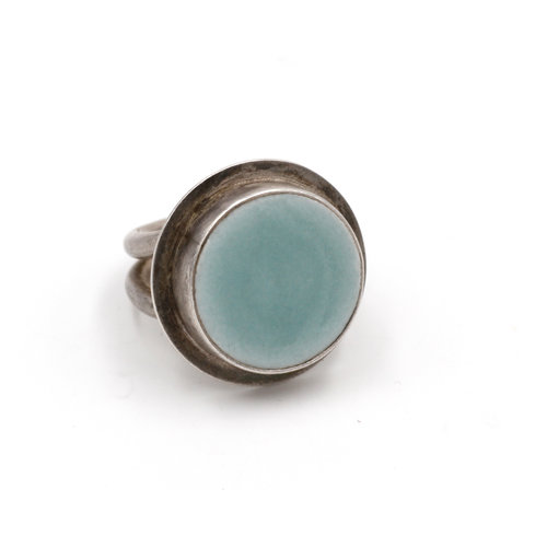 Sterling Faust Blue Enamel Ring S7