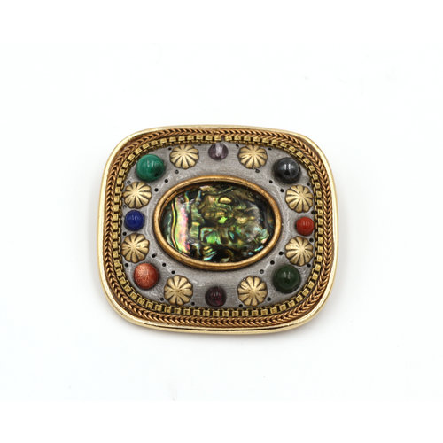 Inlay Brass Brooch