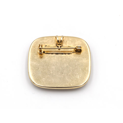 * Inlay Brass Brooch