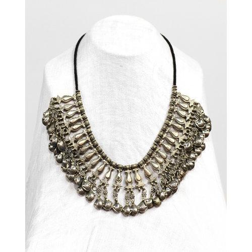 Treasures of Ojai Tibetan Style Silver Fringe Bib Necklace