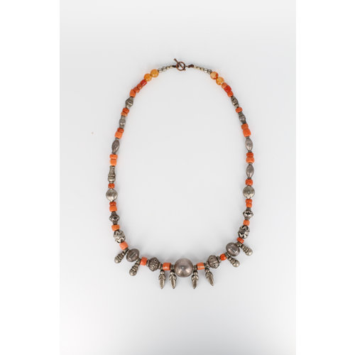 Eclectic Coral and Silvertone Beaded Necklace