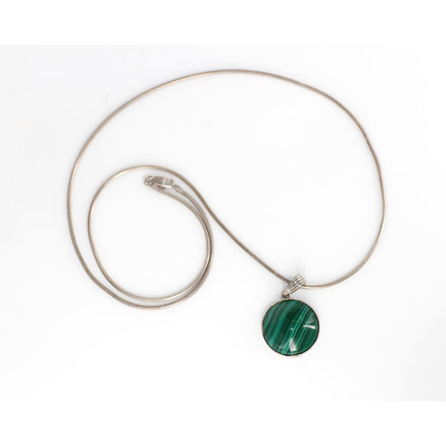 * Malachite Pendant Sterling Chain
