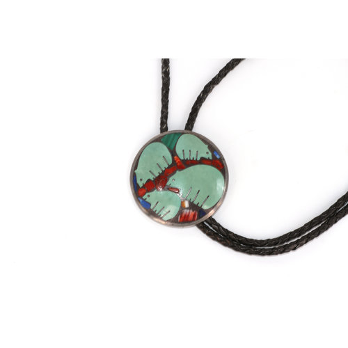 Sterling Bolo Tie with Inlay Walking Bear Motif