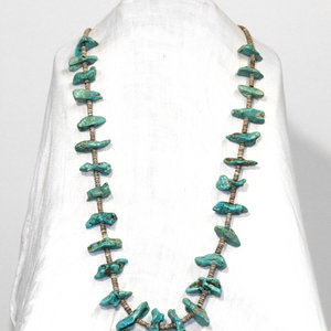 Native American Heishi and Turquoise Nugget Necklace