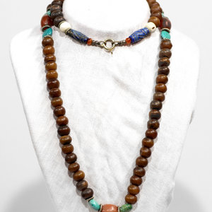 Lapis Turq Wood Beaded Necklace