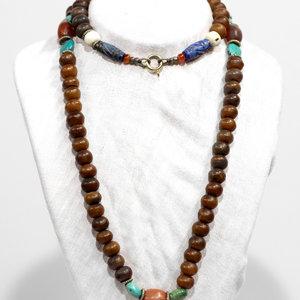 Treasures of Ojai Lapis Turq Wood Beaded Necklace