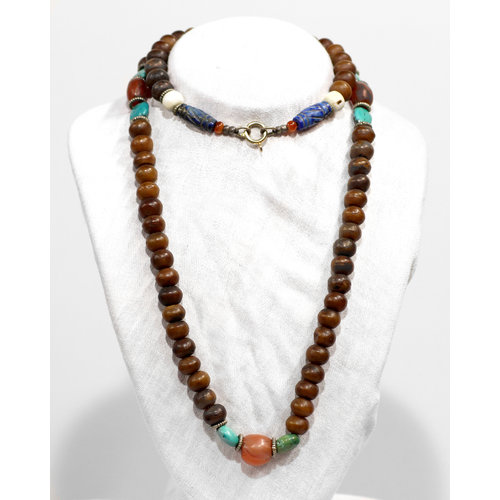 * Lapis Turq Wood Beaded Necklace