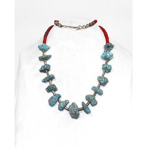 Treasures of Ojai Trade Bead Sterling Heishi & Turquoise Nugget Necklace