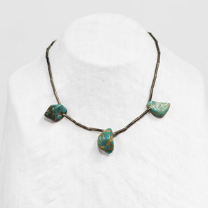 * Vintage Turquoise and Silver Tube Bead Choker
