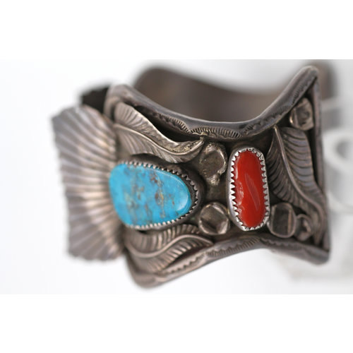 Signed Navajo Sterling Silver Watch Cuff