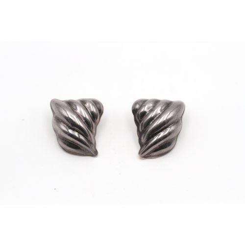 * Alicia Mexico 950 Silver Geometric Clip Earrings