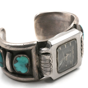 * Sterling Silver and Turquoise Watch Cuff by Artist Julian Lovato