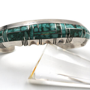Treasures of Ojai Sterling Cuff Turquoise Inlay - Gilbert Nelson