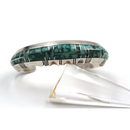 Sterling Cuff Turquoise Inlay - Gilbert Nelson