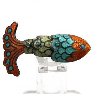 Treasures of Ojai Sterling Margo de Taxco Enamel Fish Brooch