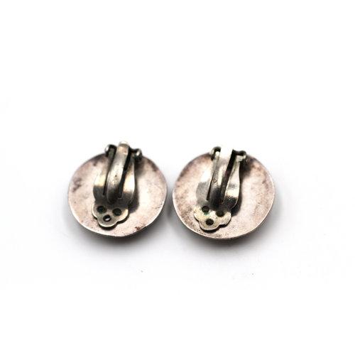 Sterling Concho Clip On Earrings