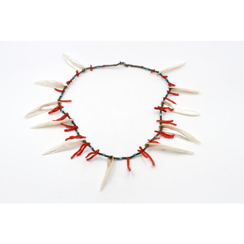 * Branch Coral and Abalone Silver Necklace