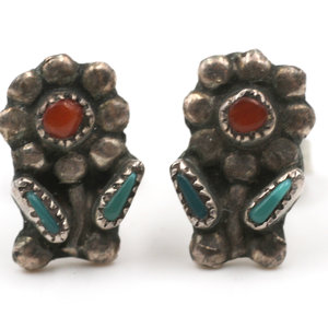 Treasures of Ojai Native American Sterling Floral Posts with Turquoise and Coral