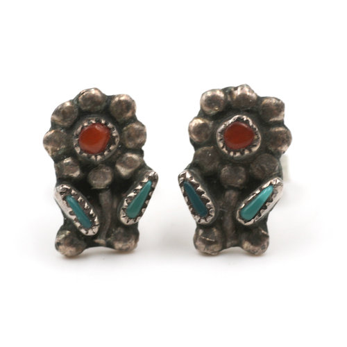 Native American Sterling Floral Posts with Turquoise and Coral