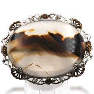 Treasures of Ojai Sterling Agate Brooch