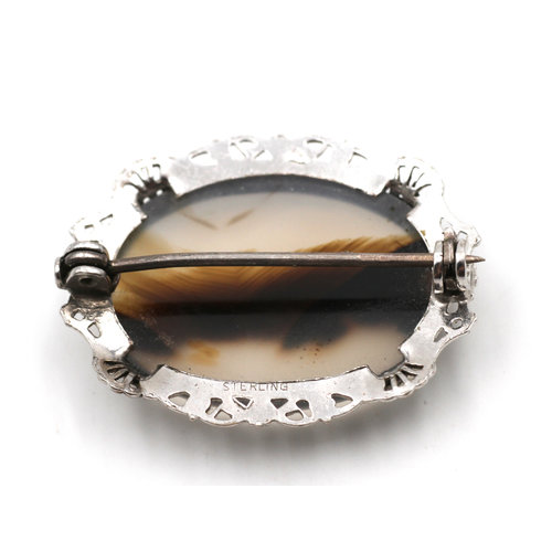 Sterling Agate Brooch