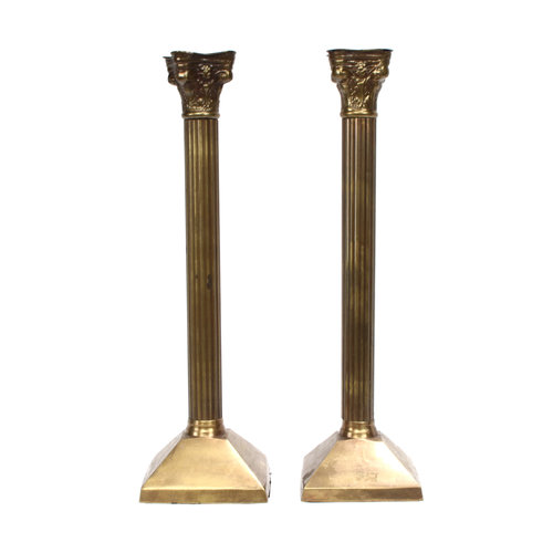 Treasures of Ojai Pair of Column Style Brass Candlesticks
