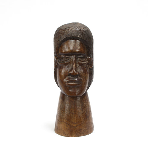 Hand Carved Wood Head Sculpture