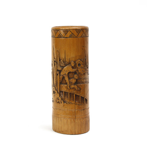 Treasures of Ojai Carved Bamboo Brush Holder