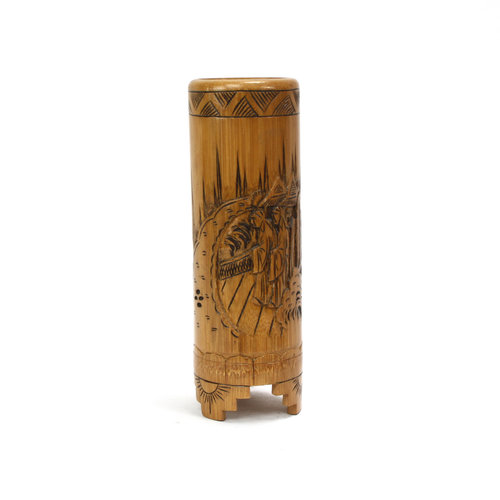Treasures of Ojai Footed Carved Bamboo Brush Holder